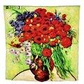 Новый 100% Шелк Девушки Цветок Шарф Большой размер Обертывания и Шали Всемирно Известный Картина Маслом Ромашками и Маками