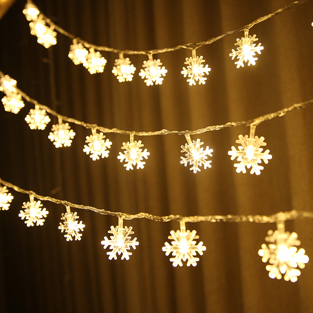 Snowflake Led String Lights Battery Ed Indoor Fairy Garland For Room Xmas Tree Valentine S Day Wedding Decoration