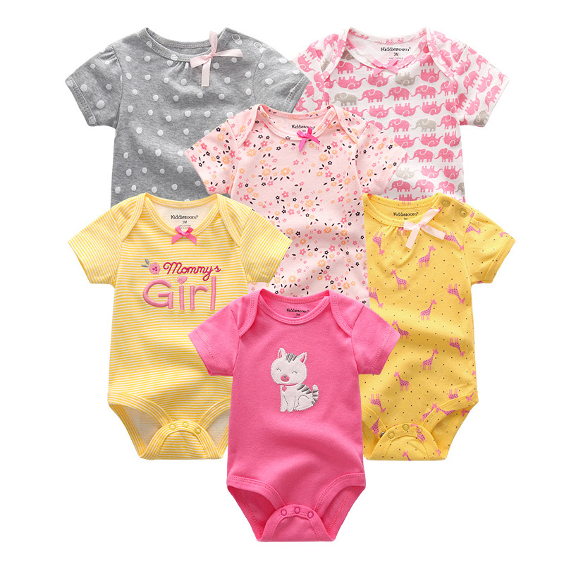 Image 5 - 6 PCS/lot Baby rompers 100% Cotton Infant Body Short Sleeve Clothing baby Jumpsuit Cartoon ropa bebe Baby Boy Girl clothesRompers   -