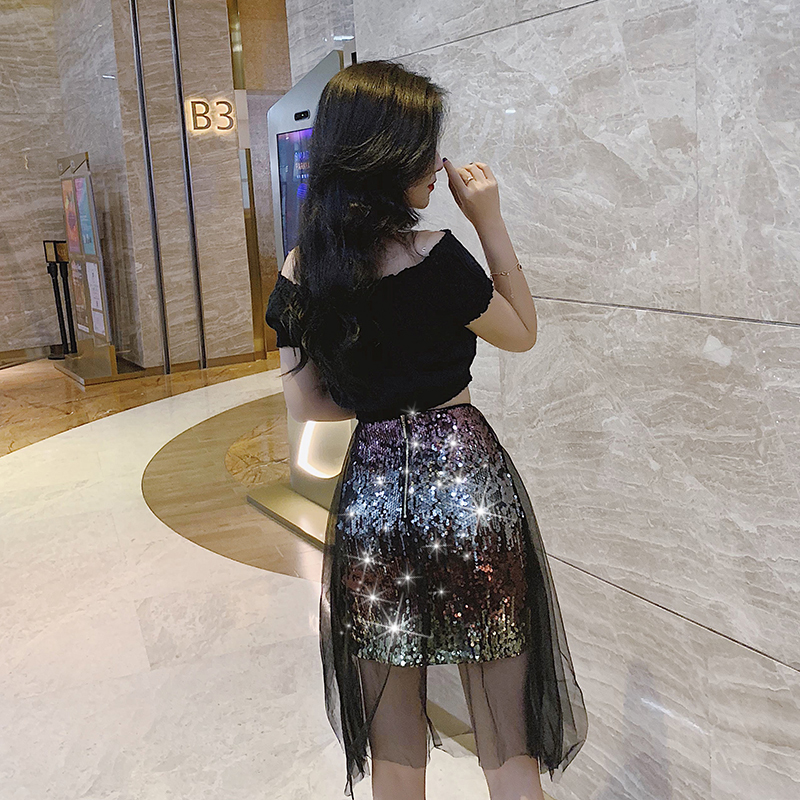 Plus Size High Street Sexy Style High Waisted Reflective Gradient Sequins on Black Skirts Zipper Bag Hip Tulle Short Skirt Women in Skirts from Women 39 s Clothing