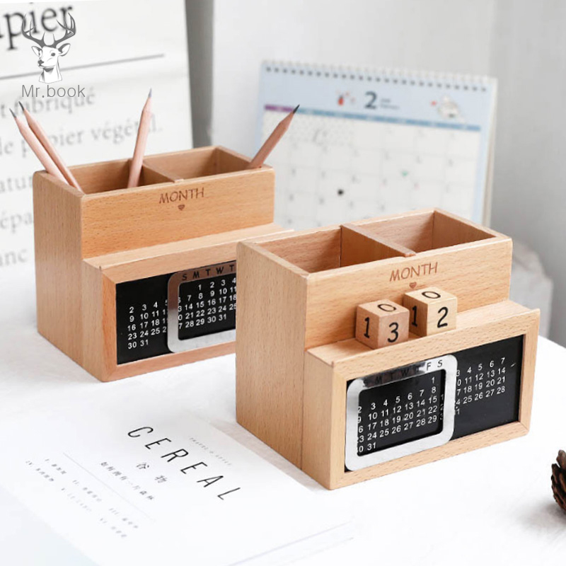 Multi-function Wooden Pen Holder with Calendar Desktop Storage Box Case 2 Grid Cosmetic Holder Desk Pen Pencil Organizer fashion diy desk storage box storage bag pen container multi function sundry woodiness storage box