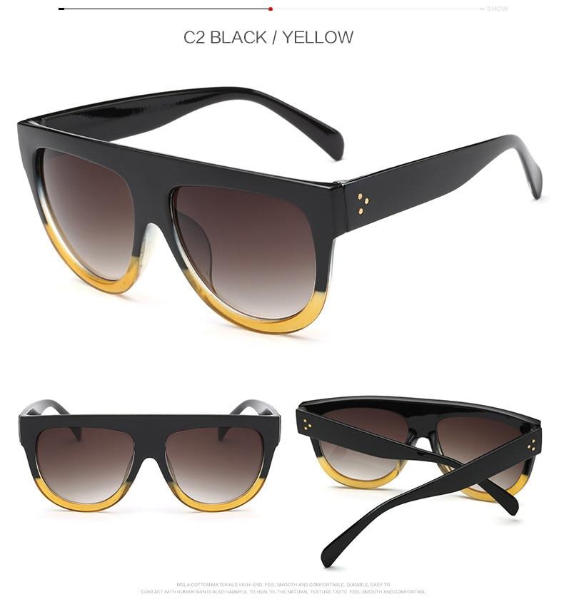 Oversize Retro Flat Top Cat Eye Glasses 5