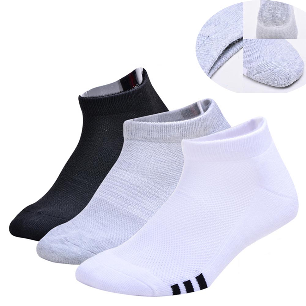 david angie Summer Men Cotton Ankle Socks Casual Solid Color Short Sock Mesh Breathable Quality Male Socks Black White, 1Y55584