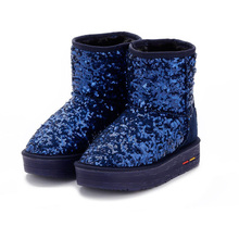 Women snow boots fashion winter falt platform faux fur ankle boot zapatos de mujer sequined cloth bling women shoe