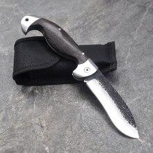 New 7CR17MOV Blade Tactical Folding Knife Titanium coating Steel Blade Wood Handle Survival Pocket Knives Huntting Fishing EDC