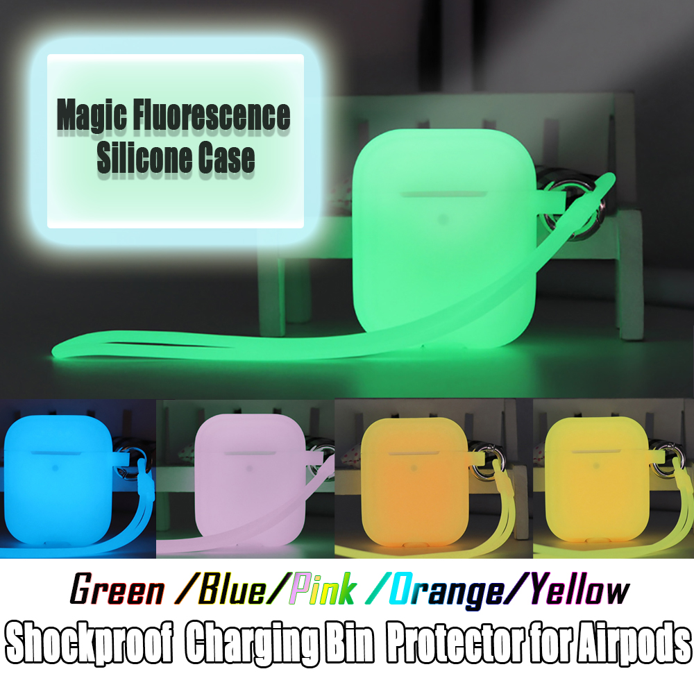 Shockproof TWS Bluetooth Earphone Box Silicone Protective Case Portable String Charging Bin Protector for AirPods 1/2