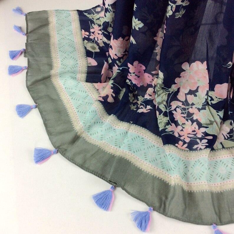 Цветочный шарф с кисточками мусульманский хиджаб, вискозная Вуаль шарф, шали и шарфы женские шарфы красивые C3-11