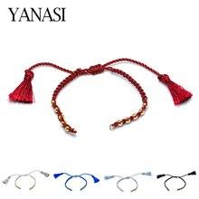 5 цветов новейший Tassle регулируемые цепочки со скользящим элементом для женщин аксессуары, браслеты для изготовления ювелирных изделий Красный Черный Веревка Браслеты