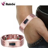 RainSo Male Bracelets 5 In 1 Health Care Element Super Magnetotherapy Magnetic Bracelets Bangles Germanium Healing