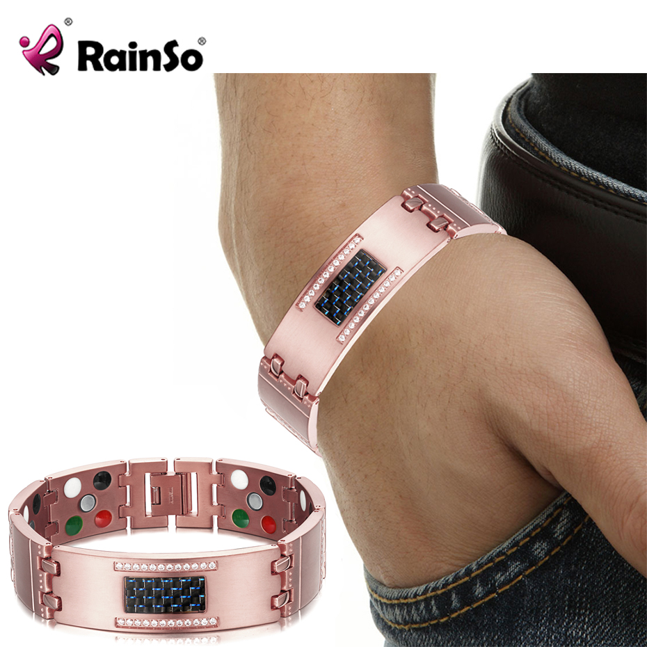 RainSo Male Bracelets 5 in 1 Health Care Element Super Magnetotherapy Magnetic Bracelets Bangles Germanium Healing Jewelry