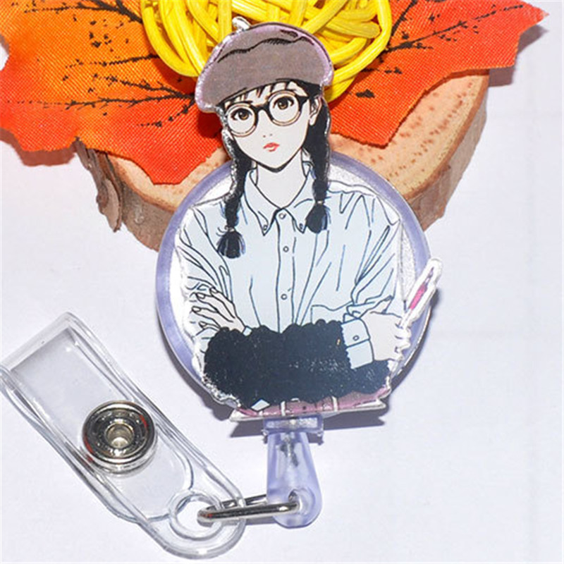 Lovly Girl Retractable Badge Reel Nurse Lanyards ID Name Card Badge Holder Clip Student Nurse Badge Holder Office