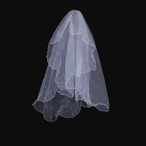 Hot Single layer wedding veil with beading style