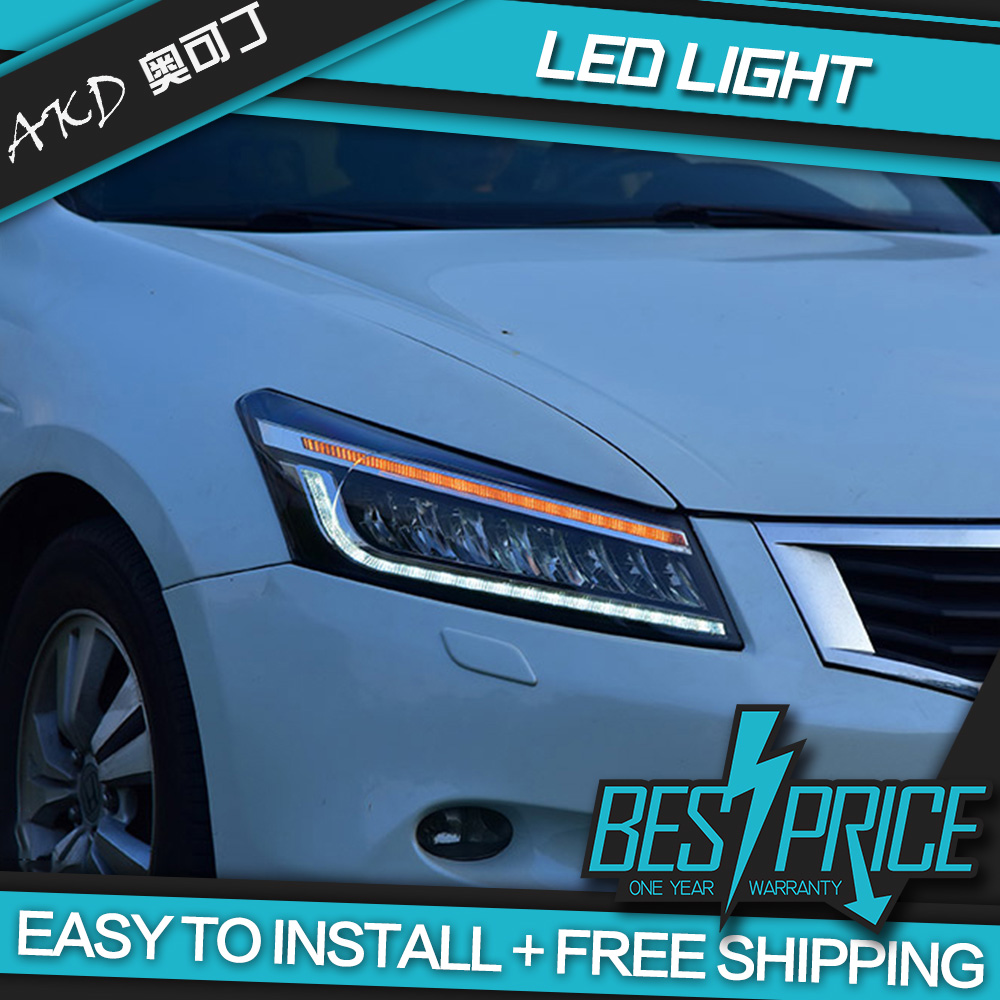 AKD Cars Styling Headlight For Honda Accord G8 2008 2012 Headlights Full LED Running lights Bi