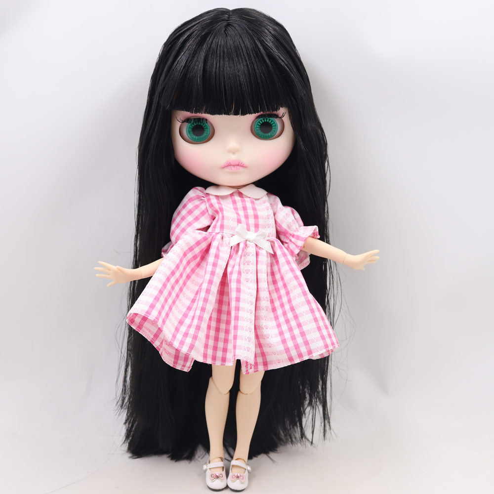 ICY Nude Blyth Doll For Series No BL9601 Black hair Carved lips Matte face Joint body