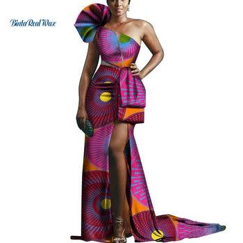 0dff670eb Bañin Riche africano diseño ropa mujer Sexy hilo drapeado Vestidos largos  de fiesta Vestidos de estampado africano vestido de Ankara WY471