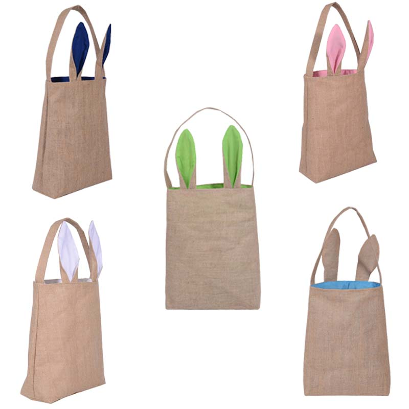New Cute Bunny Ears Design Easter Bag Cloth Tote Handbag Basket For Eggs Candies Gifts Hunting At Easter Party Festival Bags