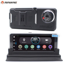 TOPSOURCE 7 inch Car DVR Rear view GPS Navigation Android 4.4 with DVR Camera Recorder FM WIFI Sat nav Navigator Rearview camera