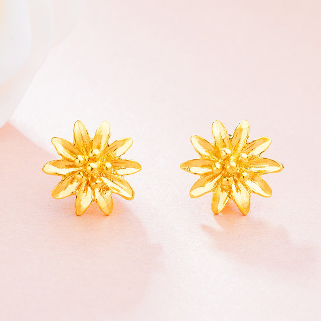 New Women Flowers Stud Earrings Married Alluvial Gold Flower Oorbellen Boucles D Oreilles