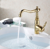 Swivel Spout Bathroom Basin Sink Mixer Faucet Deck Mounted Single Handle Taps Gold Color Finish Wgf005