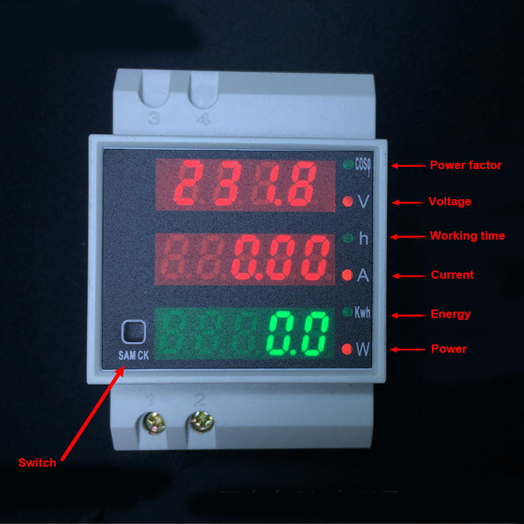 AC 80-300V 0-100.0A Din Rail LED Voltmeter Ammeter Red Blue Display Active Power Factor Energy meter Voltage Volt Current Meter ac 80 300v 0 2 99 9a ammeter voltmeter din rail led volt amp meter display active power power factor time energy voltage current