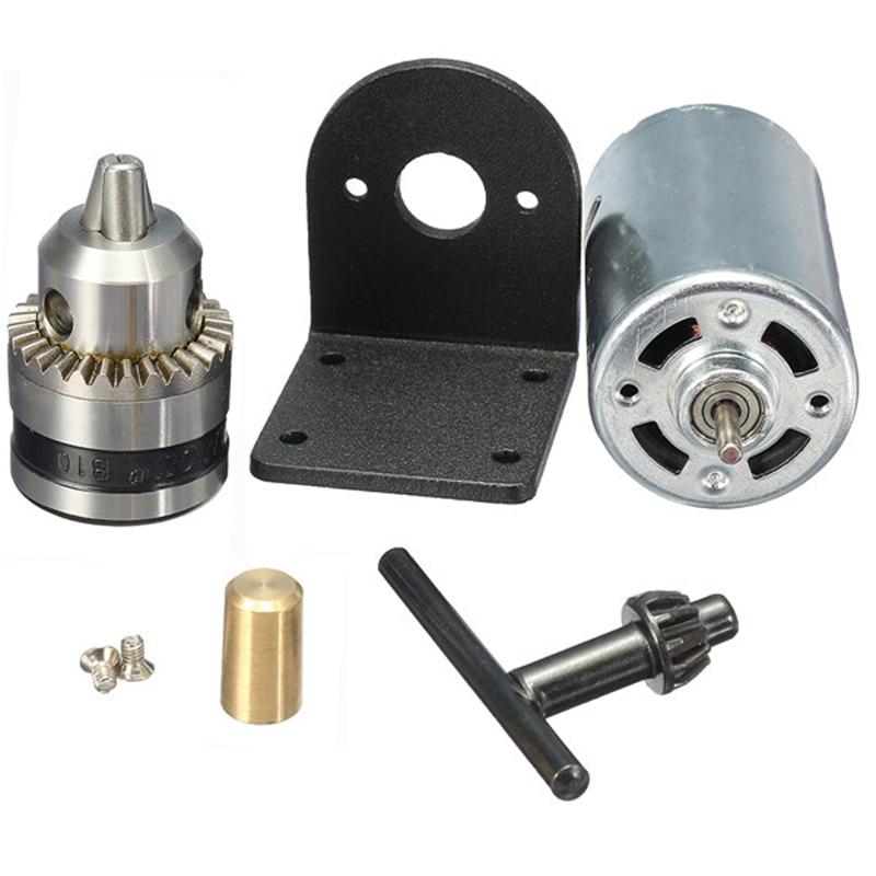 "Hand Drill DIY Lathe Press 555 Motor With 1//8/"" Chuck/&Mounting Bracket Kit Parts"