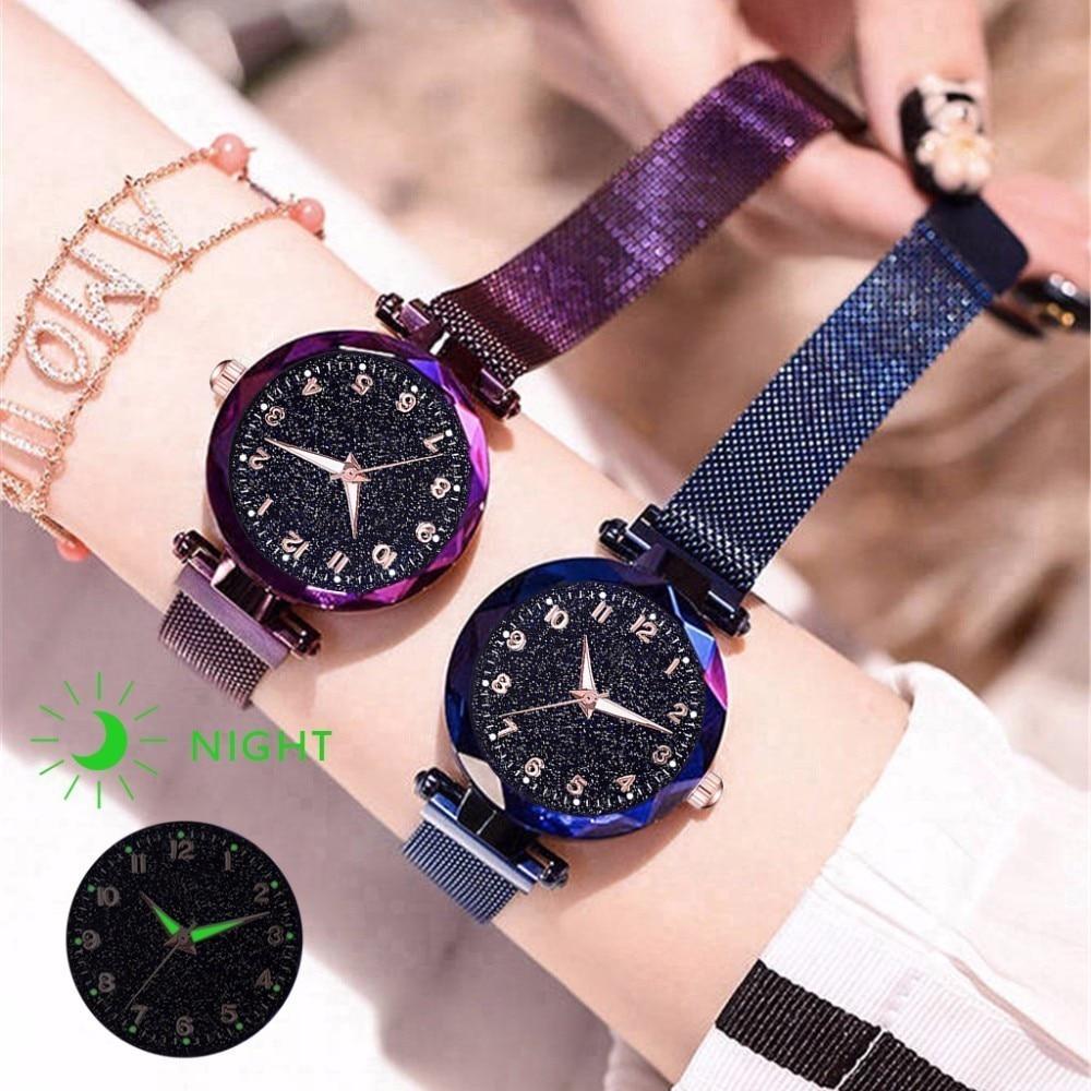 Women Magnet Buckle Starry Sky Luminous Watch Luxury Ladies Stainless Steel Quartz Watch Relogio Feminino Dropshipping Clock