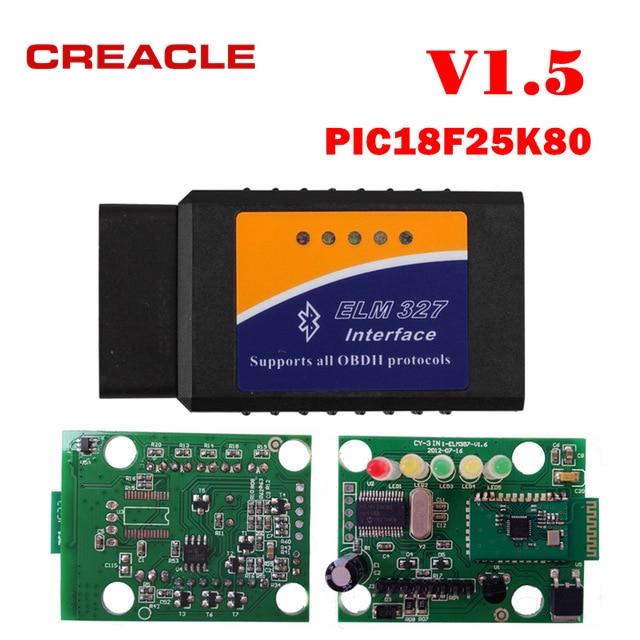 Best Price New OBDII ELM327 V1.5 with PIC18F25K80 Chip Bluetooth Version ELM327 V1.5 OBD2 Scanner For Android Diagnosis-Tool ELM 327