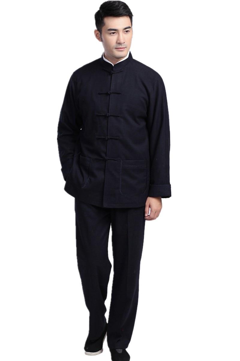 Traje de kung fu Taichi kung fu tradicional chino de lana de mezcla sólida ropa de siete hebilla taiji kungfu