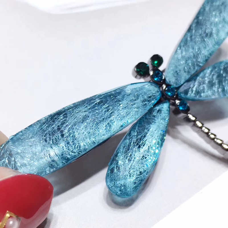Shanice Serangga Dragonfly Bros Pin Sintetis Mutiara Modis Syal Gesper Wanita Kostum Perhiasan Aksesori