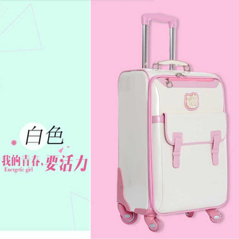 Nova Adorável 16 polegada olá Kitty Cosméticos saco 20 24 polegada es menina estudantes bonito saco de Viagem de bonde mala vs mulher bagagem rolando