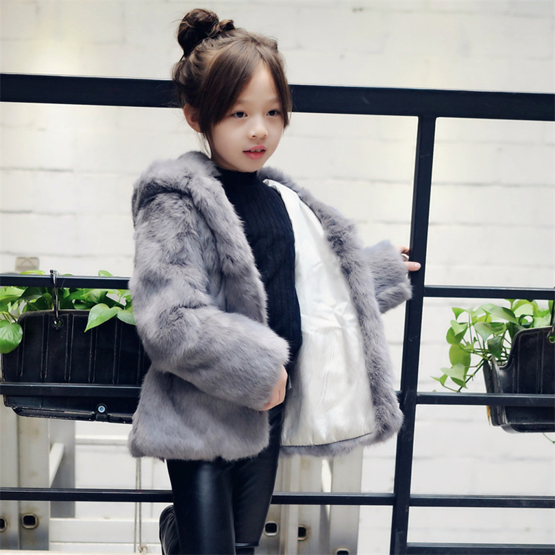 Fashion Children Real Rabbit Fur Coat Outwear Kids Girls  Winter Natural 100% Real Rabbit Fur Long Warm Jacket Coat for Girls 2017 children wool fur coat winter warm natural 100% wool long stlye solid suit collar clothing for boys girls full jacket t021