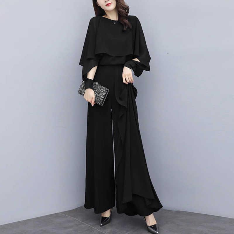 ทำงานชุด OL 2 ชิ้นชุดเสื้อชีฟองขากว้างกางเกงกางเกงสำหรับสตรีชุดหญิงฤดูใบไม้ผลิ