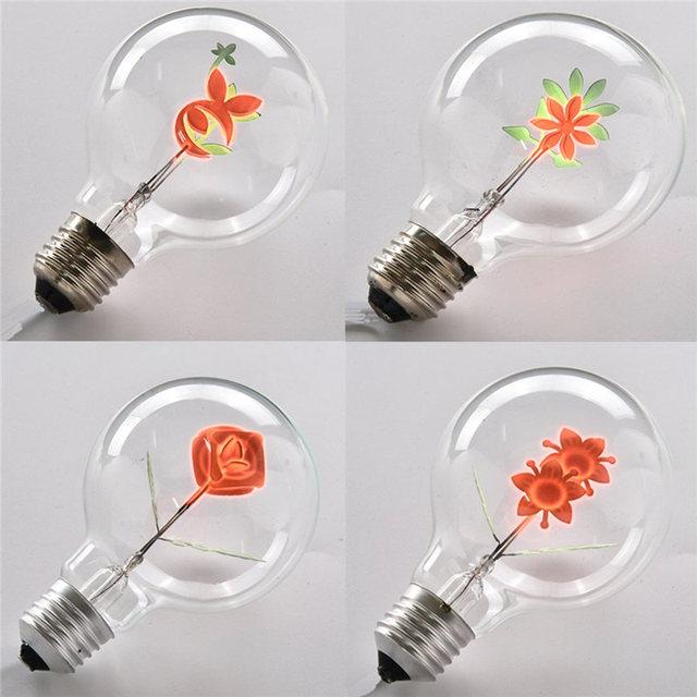 Charming 3W Vintage Light Bulb Edison Bulb E27 Industrial Filament Floral Iris Night  Light Bulbs Screw Cap