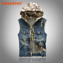 New Men's Hooded Camouflage Denim Vest Men Camo Brand Clothing Male Jeans Waistcoat Man Sleeveless Jackets Vests M-2XL G271