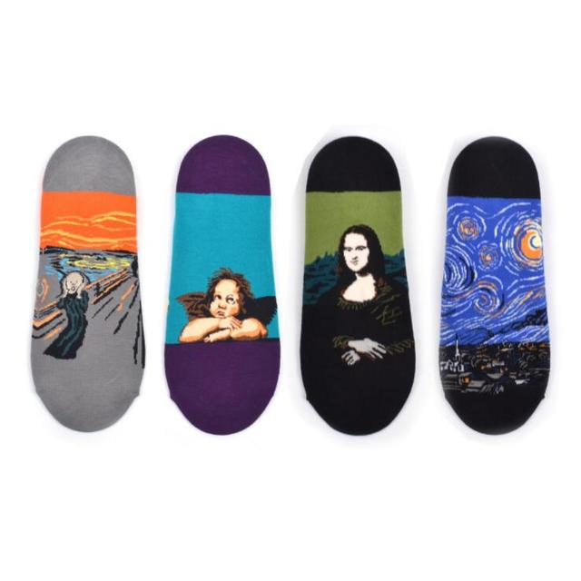 Men's Combed Cotton Oil Painting Ankle Socks Casual Van Gogh Starry sky Scream Mona Lisa Pattern Funny Colorful Dress Socks 1