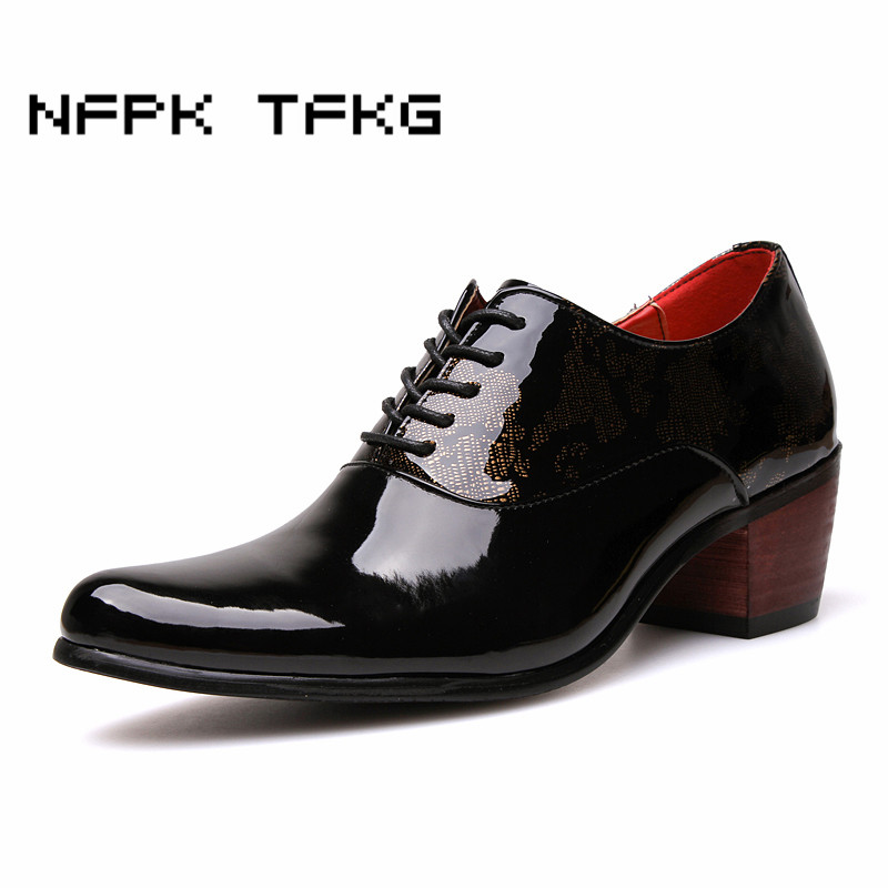6 cm thick high heels men fashion party nightclub wear patent leather shoes lace up derby