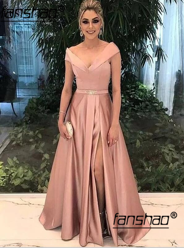 2019 robes de soirée musulmanes Satin col en v haute fente ceinture islamique dubaï caftan saoudien arabe longue robe de soirée robe de bal
