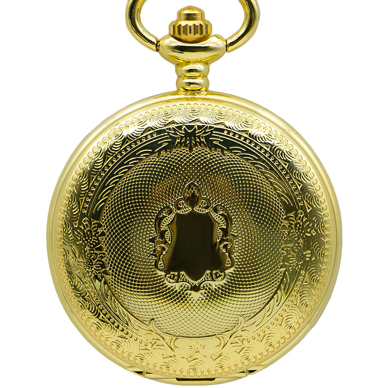 Luxury Whole Gold Pocket Watch Vintage Pendant Watch Necklace Chain Antique Mechanical Fob Watches Roman Number Pocket Gift