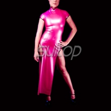 Rubber cheongsam dresses Chinese style Suitop Latex tank red color