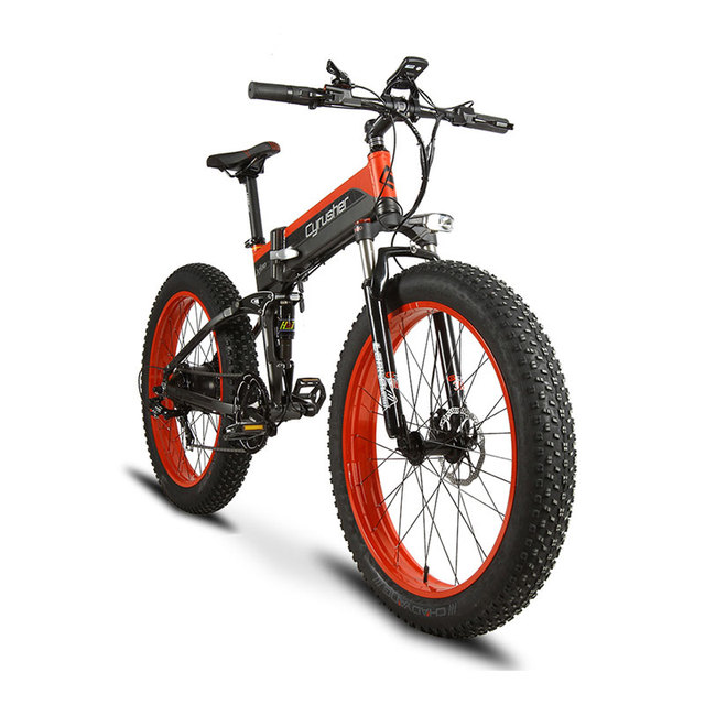 Cyrusher Ebike 500 Вт 48 В 10AH XF690 складной Fat tire Bike полный кадр Подвески 7 скоростей складной велосипед складной снег велосипед