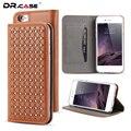 Dr. caso destaque de volta capa para iphone 6 plus pu leather telefone case para iphone 6 s plus protetor com slot para cartão de carteira de luxo