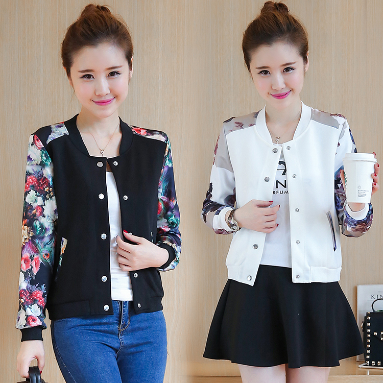 Fashion printed Short   Jacket   Women Autumn Fashion coat Stand Collar Long Sleeve slim   jacket   Zipper Baseball   Basic     Jacket   Coat