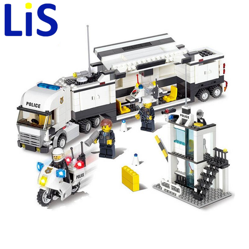 Lis Police Station 511pcs 6727 DIY Mini Doll Police Truck KAZI Building Block Learning & education Toys Christmas gift toy SA580 jie star police pickup truck 3 kinds deformations city police building block toys for children boys diy police block toy 20026