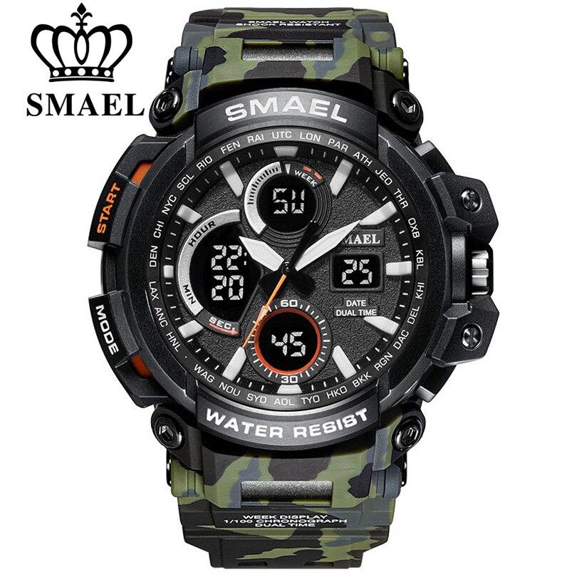 SMAEL Camouflage Militaire Montre Hommes Double Affichage des Temps Imperméable Mens Sport Montre-Bracelet Numérique Analogique Quartz Montres Homme Horloge