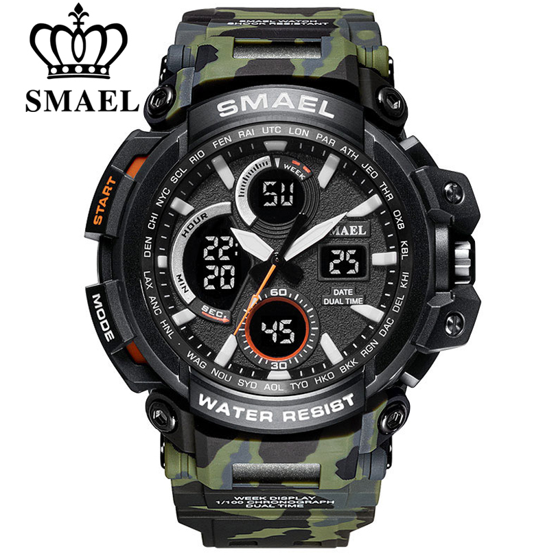 SMAEL Camouflage Military Watch Men Waterproof Dual Time Display Mens Sport Wristwatch Digital Analog Quartz Watches Male Clock