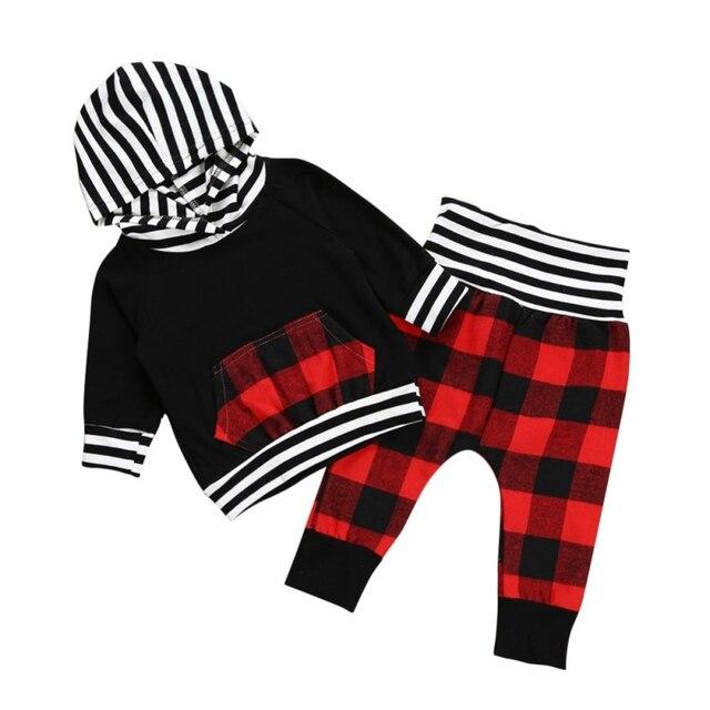 a691d97ef Hot Autumn Clothes Set Kids Pullover Hoodie Boys Coat+Plaid Pants ...