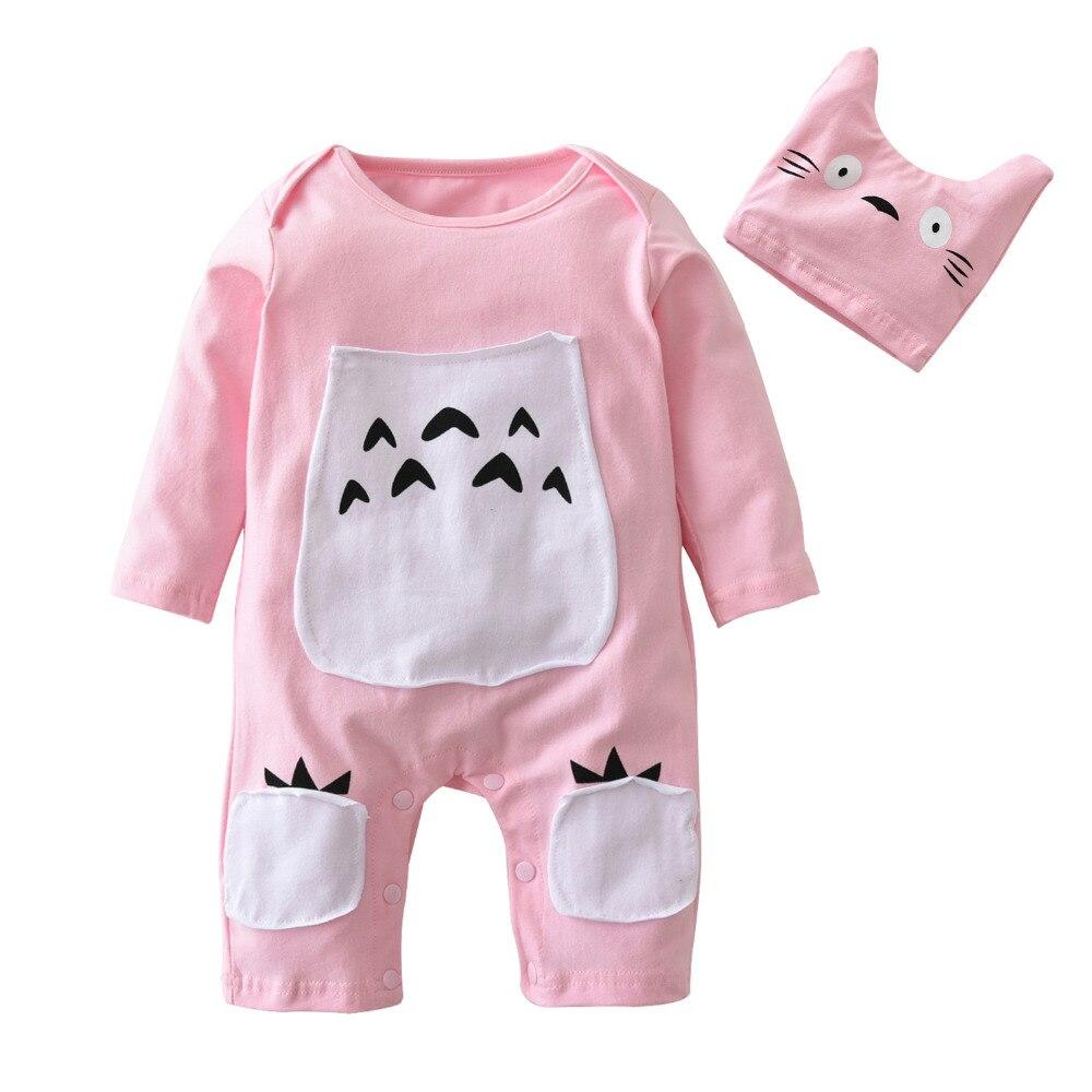 2 Stücke Nette Neugeborene Baby Mädchen Jungen Kleidung Set Baumwolle Langarm Cartoon Romper + Hut Infant Kleinkind Kleidung Outfits Attraktives Aussehen