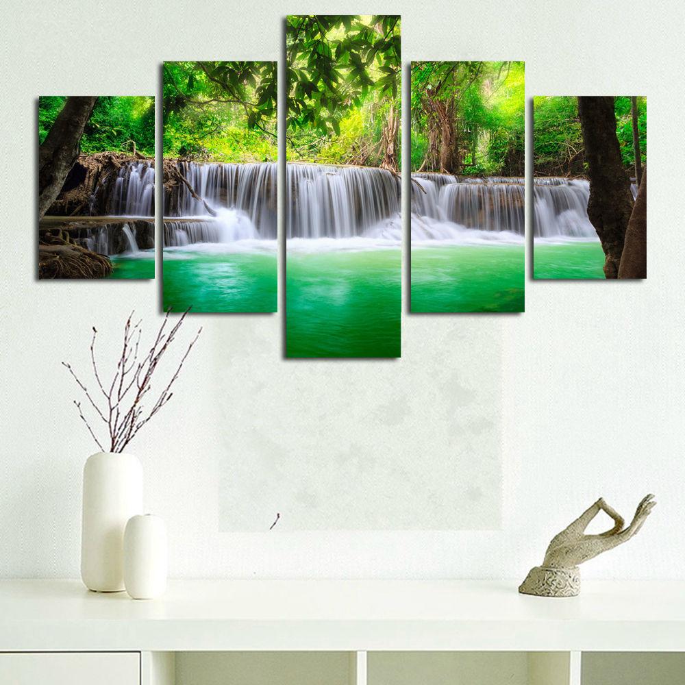 BANMU 5 Panel Air Terjun Lukisan Kanvas Gambar Seni Dinding Dekorasi - Dekorasi rumah - Foto 5