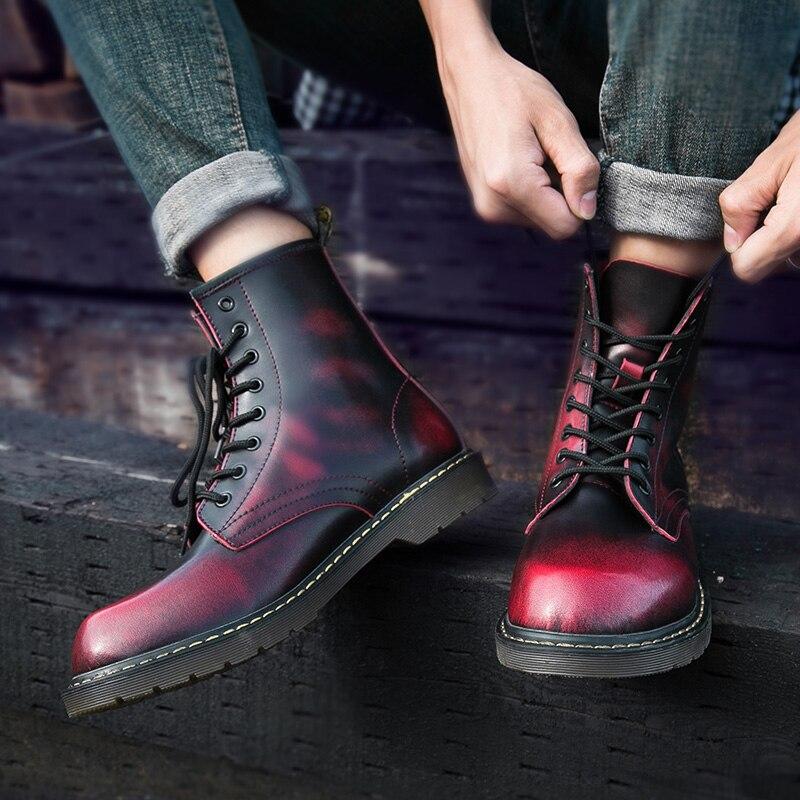 Vachette Black 47 Chaussures Bottes Sécurité Top Gris red Printemps Grandes High 38 En Moto Mâle gray De Hommes Cuir Tailles Travail brown oWdxrCBe