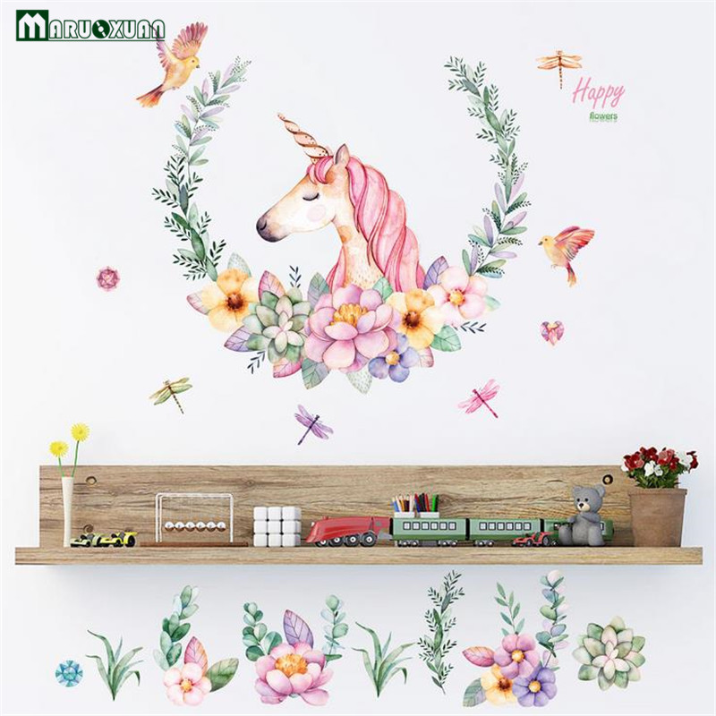 Maruoxuan cartoon unicorn flower birds wall stickers for Cadre floral mural